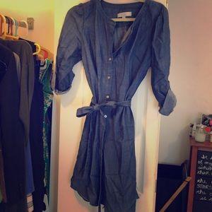 Dark chambray tie waist dress